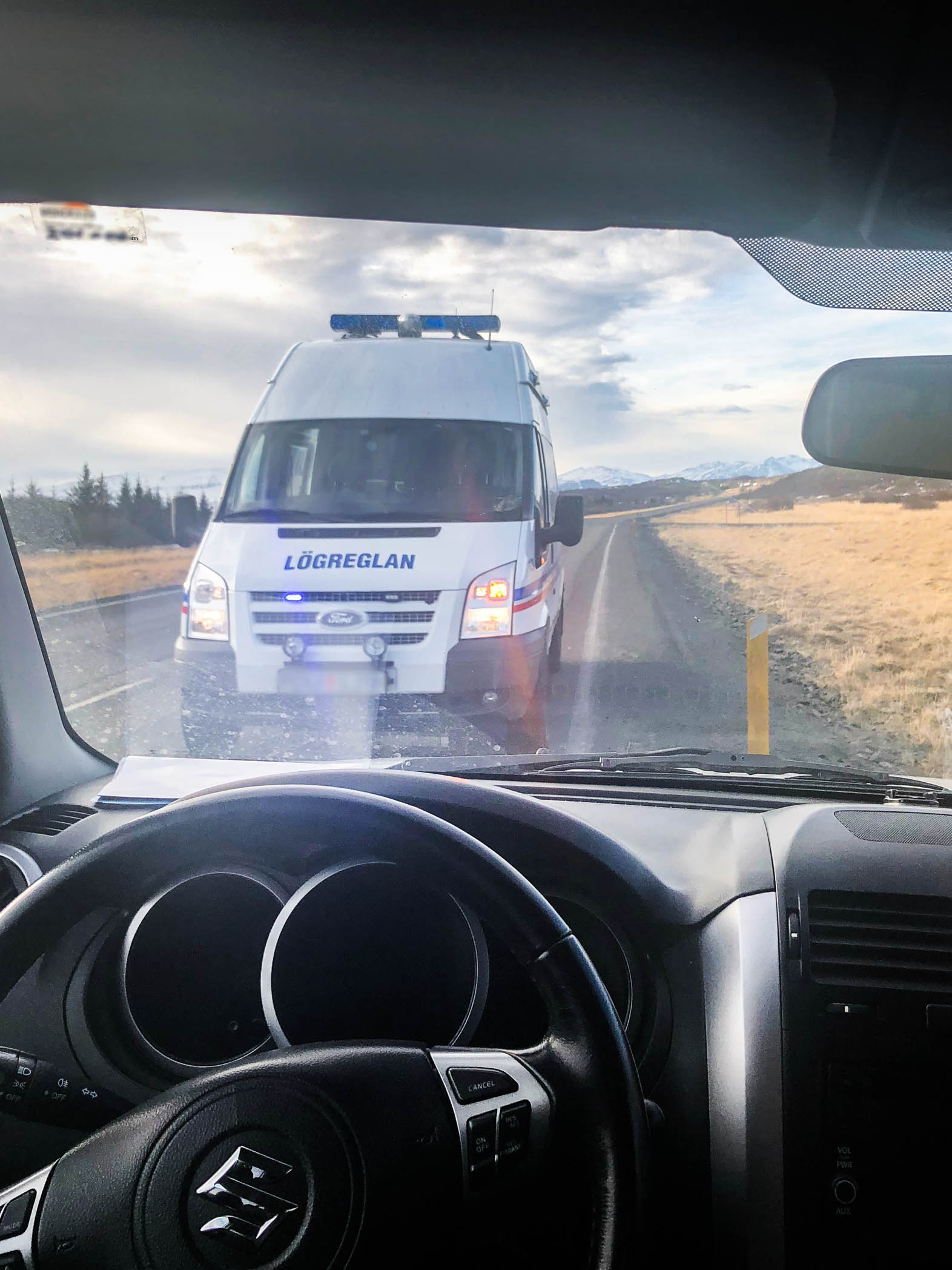 Pulled over in Iceland by police