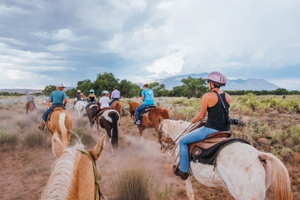 Horseback riding at Tamaya Resort