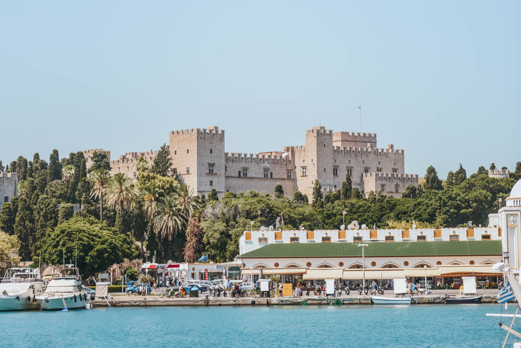 view of Medieval Rhodes from the harbor